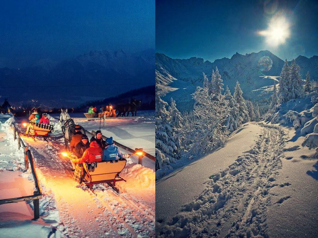 sleigh ride Poland mountains winter holiday vacations hiking snow